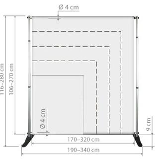 Prezentační fotostěna je nastavitelná. Šířka 170 až 320 cm. Výška 106 až 270 cm.